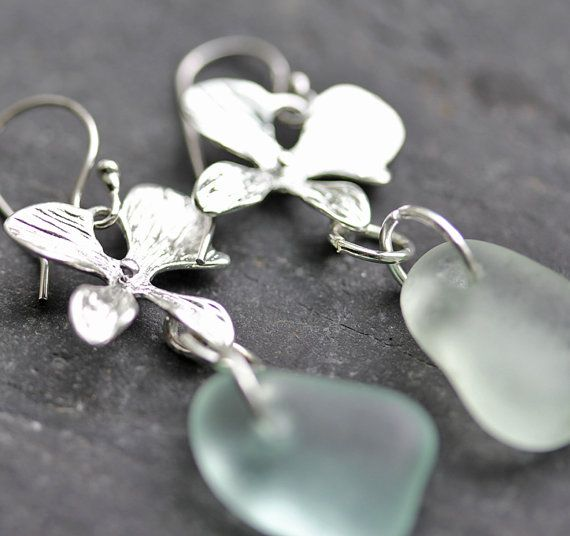 Sea Glass Earrings, Aqua Sea glass. sea glass jewelry
