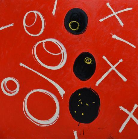 Painting Julian Davies Ladybird Noughts and Crosses on DesArts