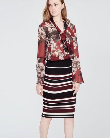rachel roy striped midi jacquard skirt