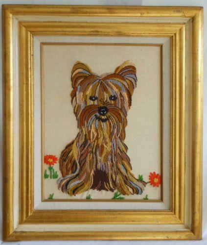 Vintage Needlepoint Yorkie Yorkshire Terrier Dog Gilded Italian Tole Frame Huge