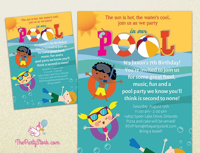 18 best images about Pool Party Invitations – Invite to Party