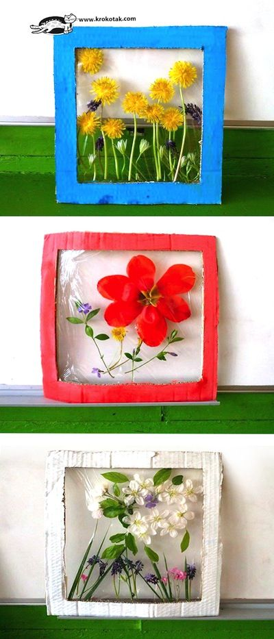 Kid made flower panels...pick and press flowers to make window gardens. A fun Spring project