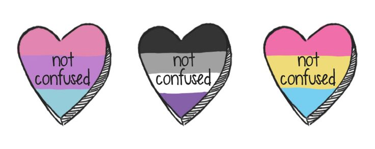 first flag: bisexual. second flag: asexual. third flag: pansexual.