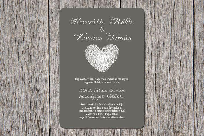 Modern Wedding Invitation, Fingerprint Wedding Invitation, grey wedding invitation