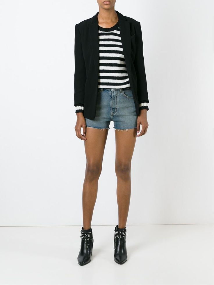 Saint Laurent Eyelet Trim Denim Shorts - Cuccuini - Farfetch.com