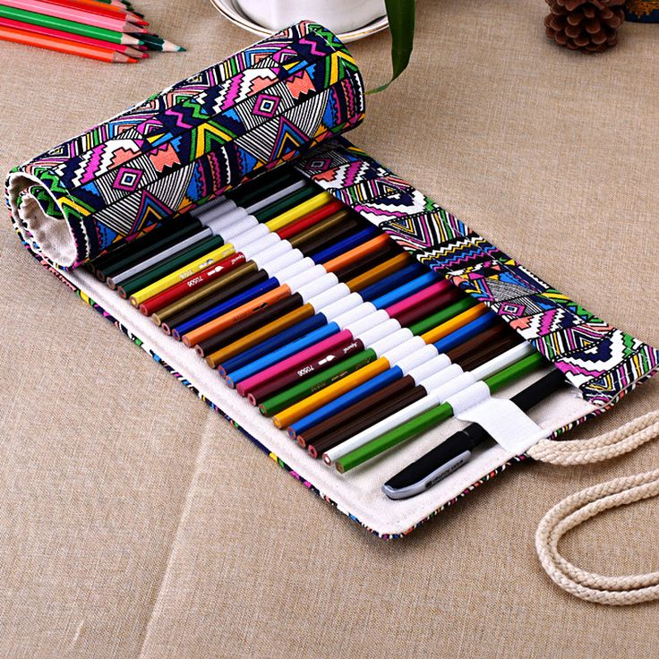 National Canvas School Pencil Case 36/48/72 Holes Roll Up Pencil Bag Portable Pencil Box School Supplies material escolar