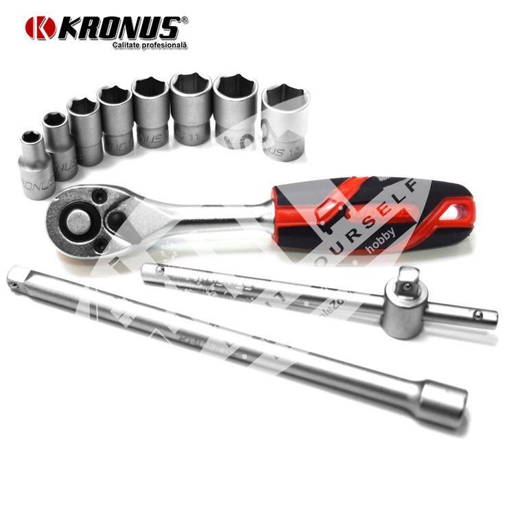 "Trusa capete chei tubulare si accesorii 1/4"" - 11 piese Kronus 7201PC (616271)"