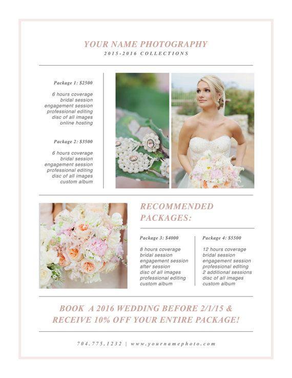 Wedding Photographer Magazine Style Pricing by designbybittersweet