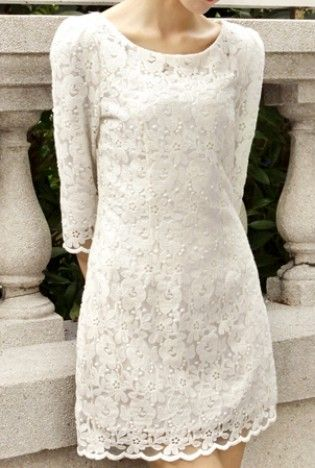 White Lace Dress for engagement party.