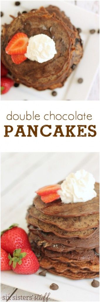 double chocolate pancake recipe from Six Sisters' Stuff | I love a delicious breakfast recipe, and anything involving chocolate in the mornings just makes my day that much better.  These double chocolate chip pancakes are like a delicious, thick chocolate crepe (you can also easily adjust the recipe to make them a bit fluffier). We love them served with fresh fruit, whipped cream, chocolate syrup, or powdered sugar.