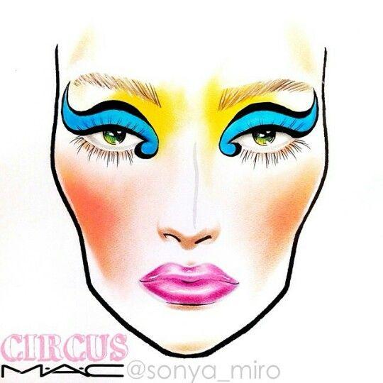 """sonya_miro Instagram """"Circus"""" Face Chart Makeup face"""