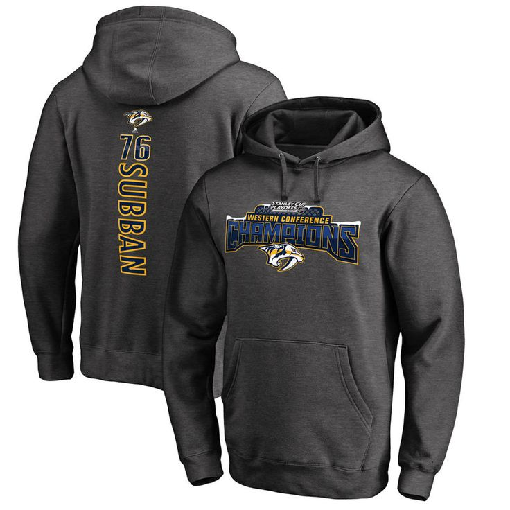 PK Subban Nashville Predators Fanatics Branded 2017 Western Conference Champions Neutral Zone Backer Name & Number Pullover Hoodie - Heathered Gray