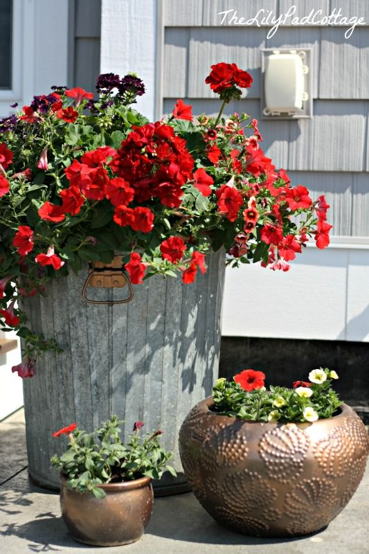 Trash to Treasure - Garbage Can Flower Planter DIY - The Lilypad Cottage