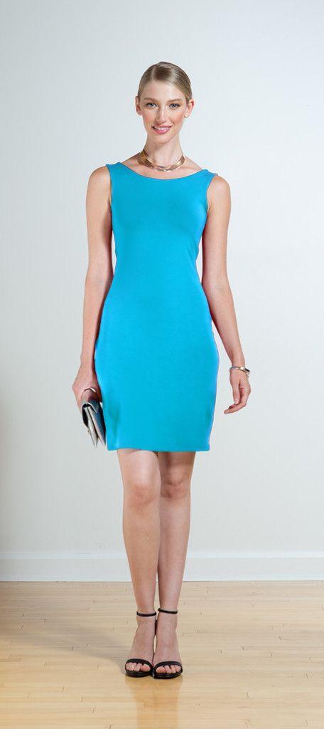 Miik Yara jewel blue sleeveless reversible dress with boat neck. The Petite Alternative  #petitedresses #petitefashion
