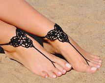 Crochet negro sandalias Descalzas, joyería, regalo de la Dama de honor, pies descalzos sandles, playa, tobillera, boda, boda en playa, verano de los zapatos