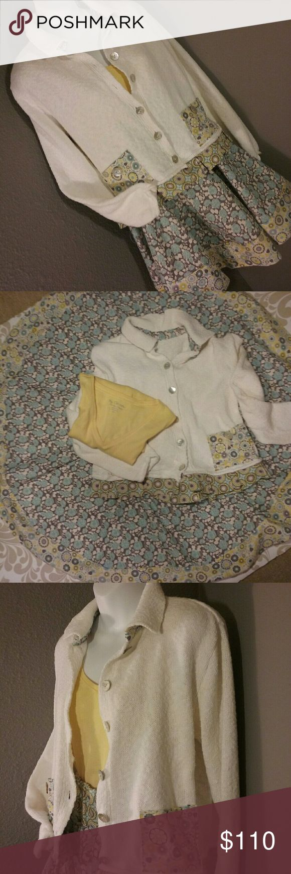 """COUTURE Tiffany blue yellow skirt sweater set M Absolutely one of a kind. Tiffany blue flowers, yellow and grey in 3 whimsical coordinating patterns.This 100% cotton sweater came missing a pocket,  and the cut and weave were such that it had to be saved! 19"""" circle skirt with 28-40"""" waist  Sweater 22"""" sleeves, 20"""" s-hem. Couture for you only! Poshionistas  Skirts Circle & Skater"""
