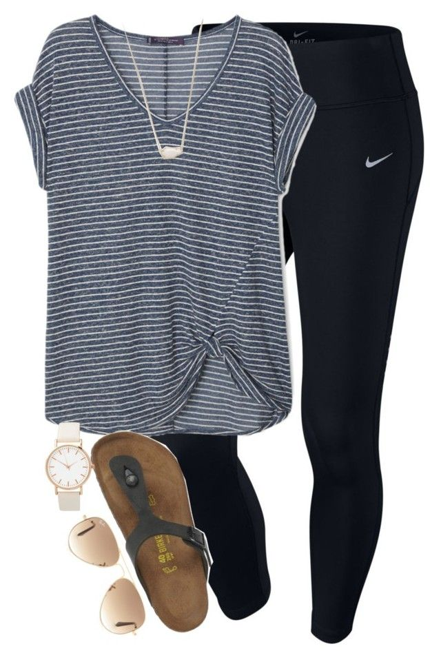"""ugh"" by elizabethannee ❤ liked on Polyvore featuring NIKE, MANGO, Birkenstock, Kendra Scott and Ray-Ban"