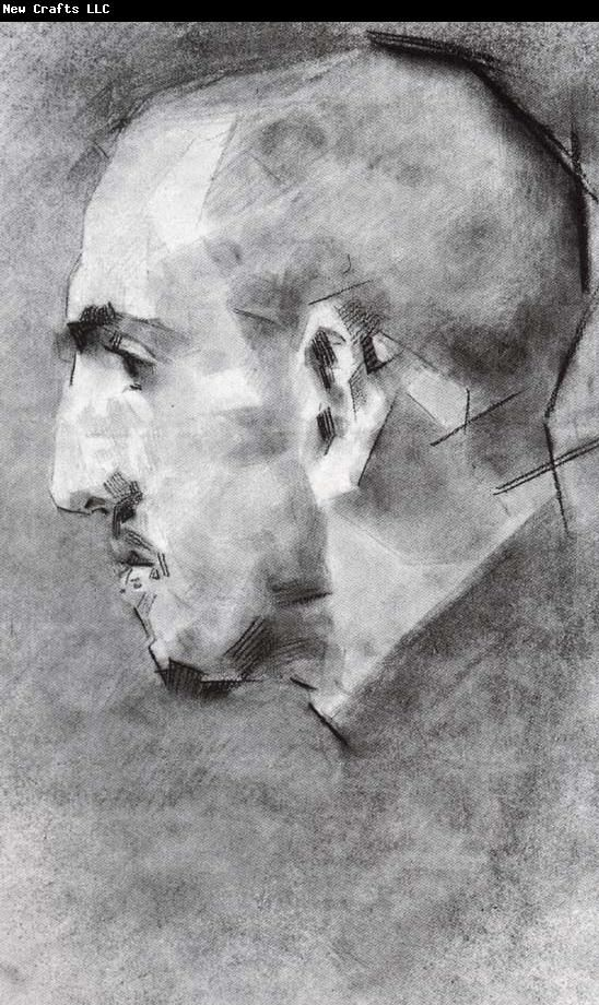 "Mikhail Vrubel-Russian Symbolist Painter(1856-1910) ""Portrait of Vsevolod Mamontov"" (1890-91) (Sanguine,Charcoal,And stumping on paper) (42.6x25.8cm) Tretyakv Gallery, Moscow"