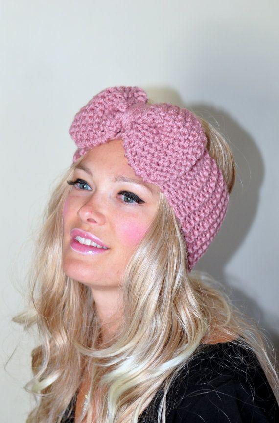Big Bow Ear Warmer  Crochet Headband Turban Head wrap by lucymir, $39.99