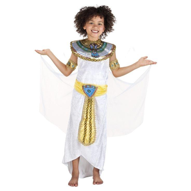 Dit Egyptische godin Anoeket kostuum voor meiden is gemaakt van polyester en wordt geleverd met een kraag met cape, armbanden en de riem zit aan de jurk vast.