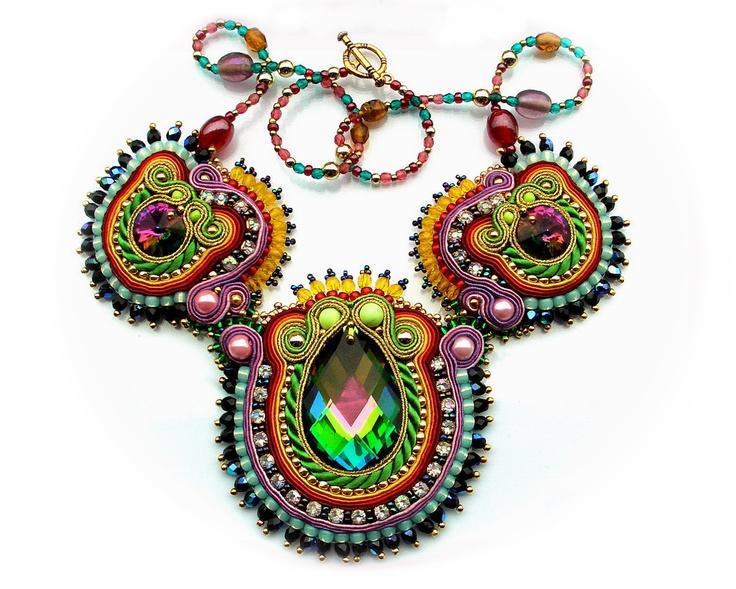 Bold Soutache Bollywood Style Bib Statement necklace
