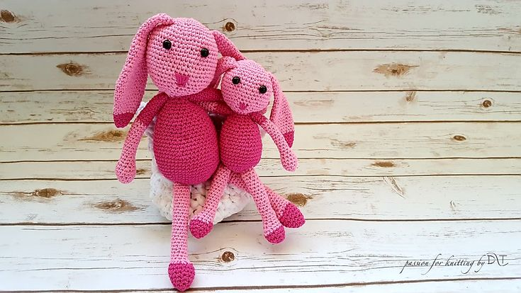 Crochet handmade bunny Pink. Size: 27 and 40 cm. Handmade product.@DLThandmade https://www.facebook.com/DLThandmade/ #crochetbunny made with love for a happy childhood #crochettoy #DLThandmade #passionforknitting