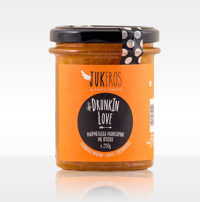 """""""Jukeros Preserves"""" #DRUNKINLOVE, Clementine marmalade with whiskey. Preservative free. Expire day (18 months from production day). Keep refrigerated after opening. Marinated for 6 hours in whiskey before cooking. Alcohol free. Perfect to accompany warm cheese like fried camembert."""