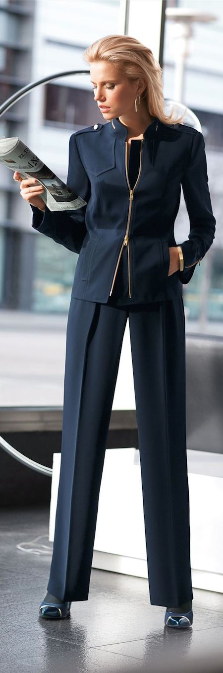 LOOKandLOVEwithLOLO: New Fall 2014 Arrivals from Madeleine....Suits, Jackets, and Pants - navy suit with zipper
