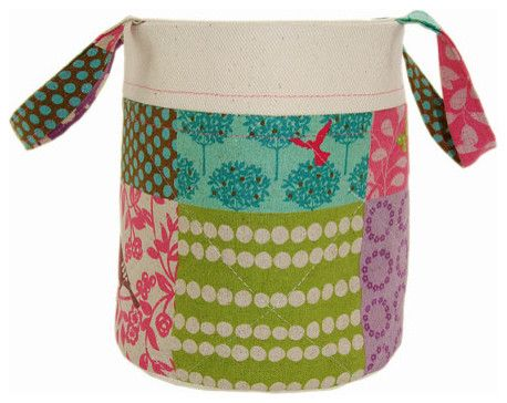 Linen Storage Bucket, Pittville by Kitty Kent contemporary toy storage