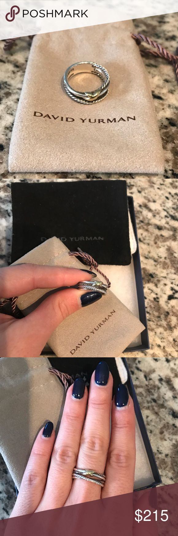 David Yurman ring David Yurman X-crossover ring. Excellent condition. Comes with cleaning cloth and pouch. Sterling silver and 18-karat yellow gold. 6mm wide. Great everyday piece. Size 6. Thicker band so may fit snuggly but measured and purchased sz 6. David Yurman Jewelry Rings