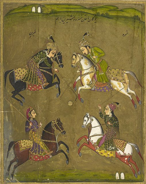 An abridged version of Khusrau u Shirin by Nizami. Sixty-three miniatures. - caption: 'Khusrau and Shirin playing polo.' | by The British Library