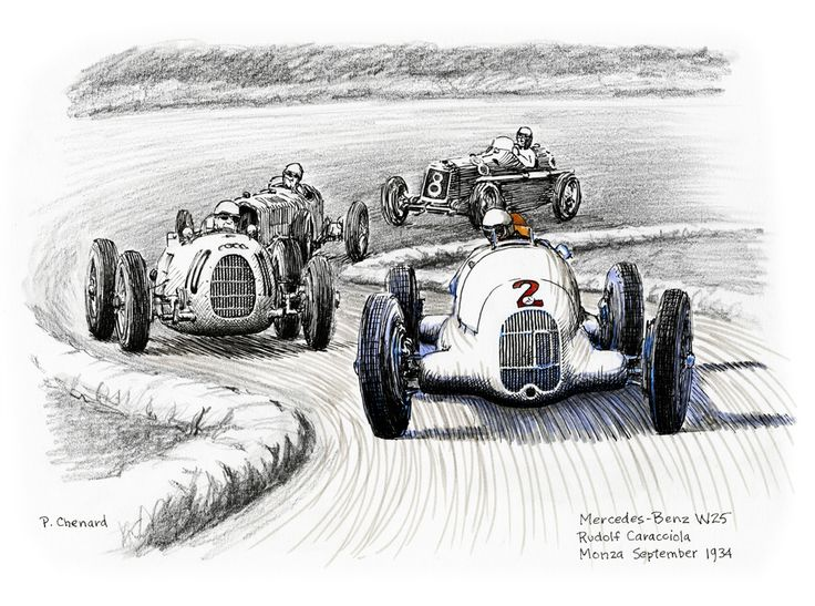 Art from the book: Grand Prix of Italy, Autodromo Di Monza – September 9th, 1934. Available as a limited edition.