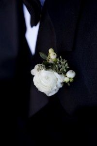White Ranunculus Boutonniere | White Milk Glass | White Hob Nail | Riverhouse at Goodspeed Station Wedding | Planning by Ambiance | Paper by Admire