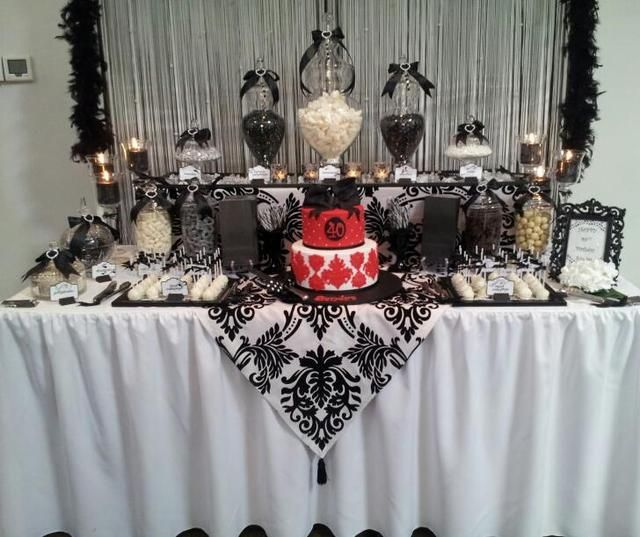 black and white with a touch of red lolly buffet birthday party ideas dessert table birthday40th