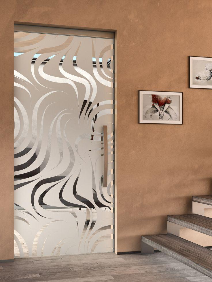 Celoskleněné posuvné dveře JAP s pískovaným motivem#sklo#design#interier#bydleni#house#pískovanésklo#sandblasted#doors#dveře#door#modern#pocketdoors#glassdoors#