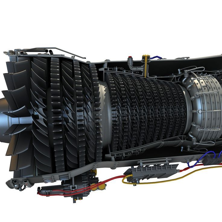 F100 Turbofan Engine Cutaway 3D Model