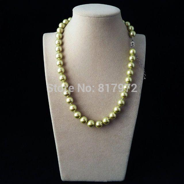 Горячая распродажа светло-зеленый природных юг морские раковины жемчужное ожерелье мода выделите AAA 10 мм бусины ожерелья подарок для женщин ювелирные изделия