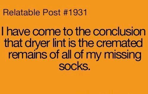 Dryer lint: Cremated remains of missing socks. So true. More here: 20 Hilarious Funeral Humor Memes