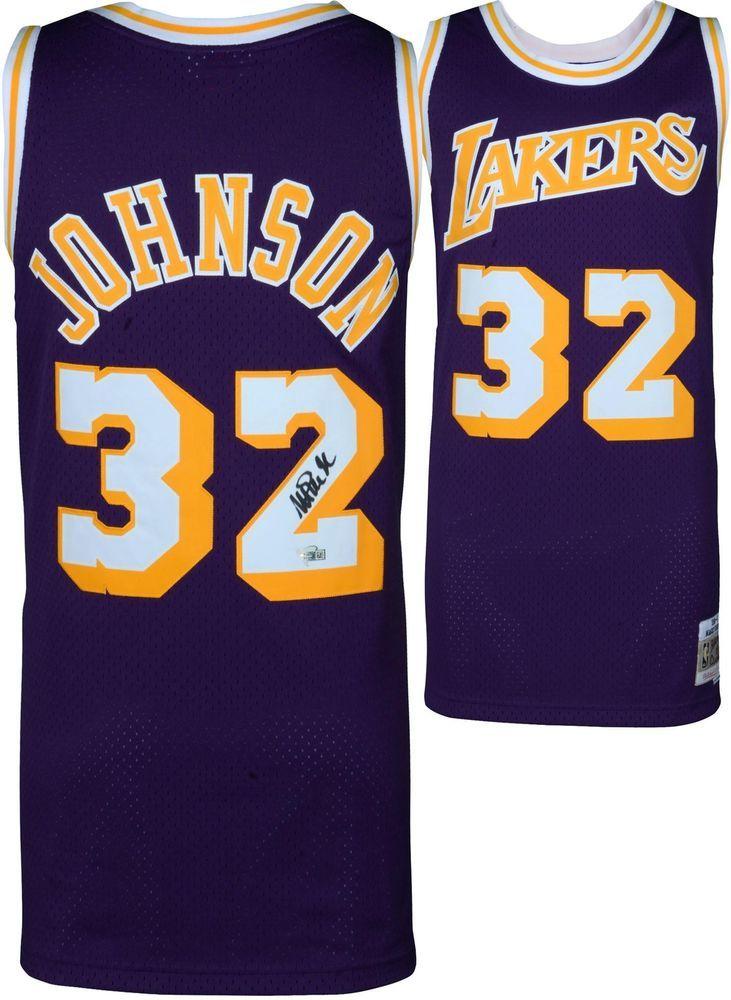 9d14a0bdb Magic Johnson Lakers Autographed Purple M N HWC Swingman Jersey - Fanatics