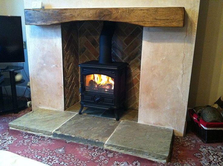 Reclaimed Yorkshire York Stone Hearth Log Burner