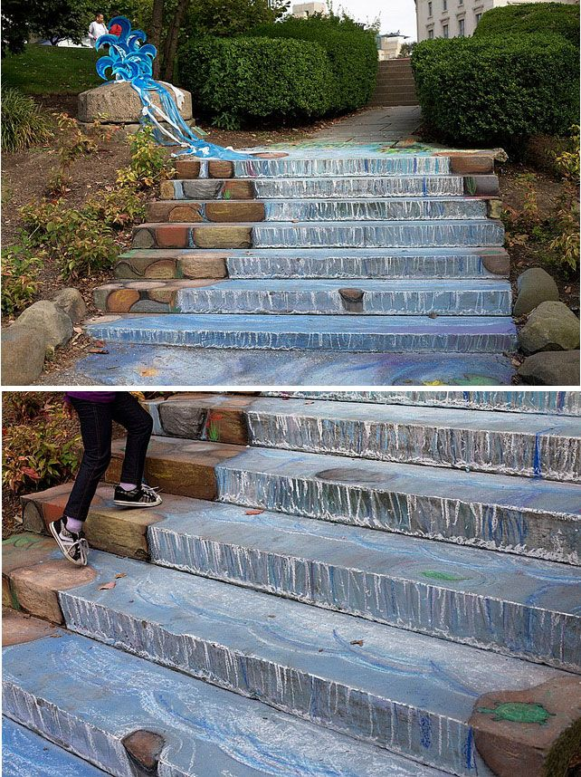 Waterfall stairs chalk pavement art at the Cleveland museum of art