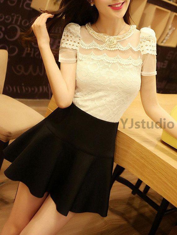 Blouse, Shirt, Korean Style Women Lace Blouse, black blouse, white blouse, apricot blouse, net, top, summer blouse, short sleeve on Etsy, $49.00