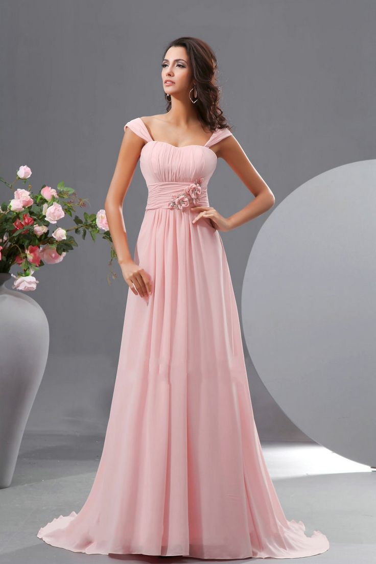 12 best pink bridesmaid dress images on pinterest bridesmaid blushing a line pink straps flowers beading long bridesmaid dress ombrellifo Image collections