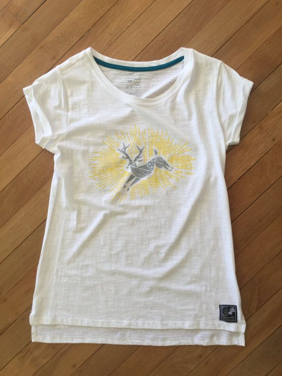 Ladies Deer T Shirt White by SonjaHandcraftedTees on Etsy