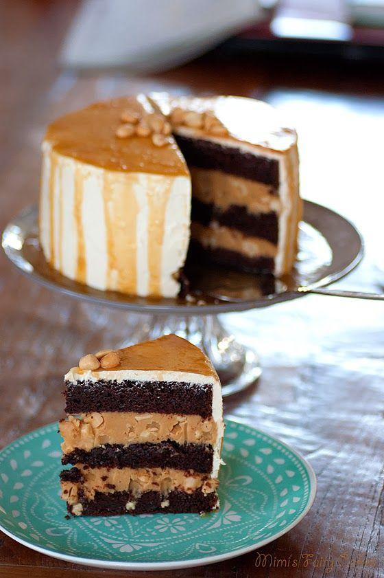 vegane S(ch)nickers Torte. Schoko mit Salzkaramell und Erdnussbutter.