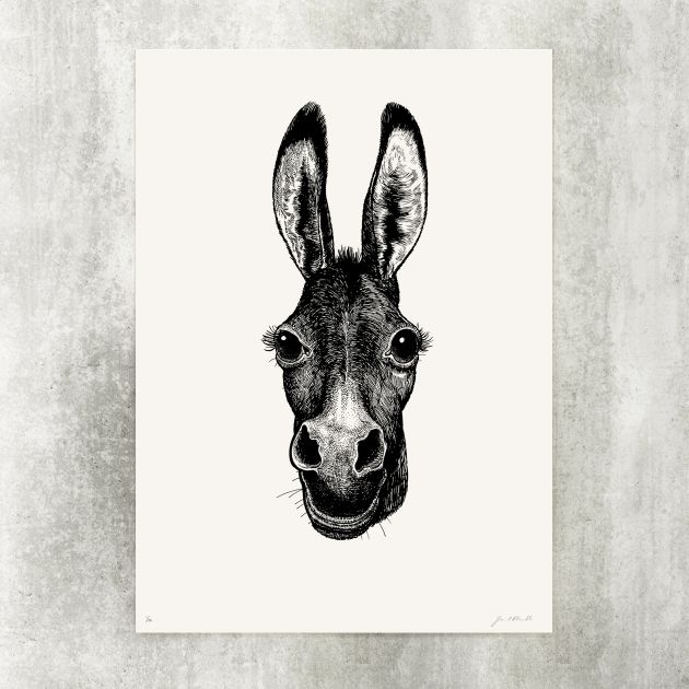 Donkey a one color screen print limited to 90 pieces numbered and signed