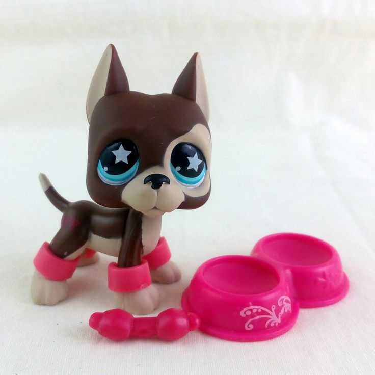 Littlest Pet Shop 817 Great Dane Dog LPS Toy HASBRO 2007 Blue Star eyes Brown