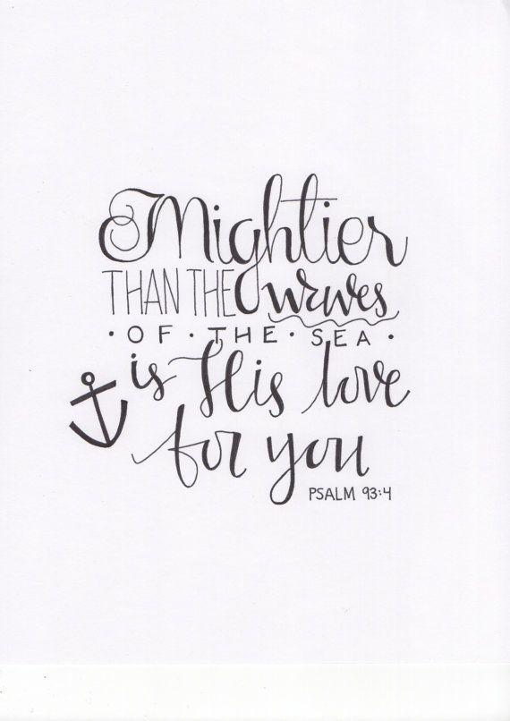Handwritten Psalm 93:4 Calligraphy Print by WildWoolCo on Etsy