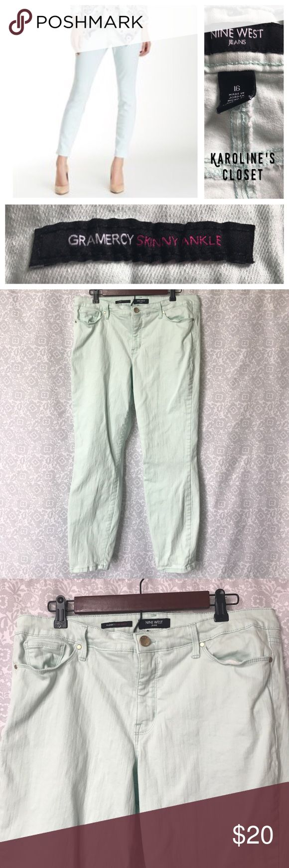"Nine West Gramercy Skinny Ankle Mint Green Jeans Nine West, Gramercy Skinny Ankle jeans in size 16, Mint Green color, 26"" inseam, and in excellent condition!! Nine West Jeans Skinny"