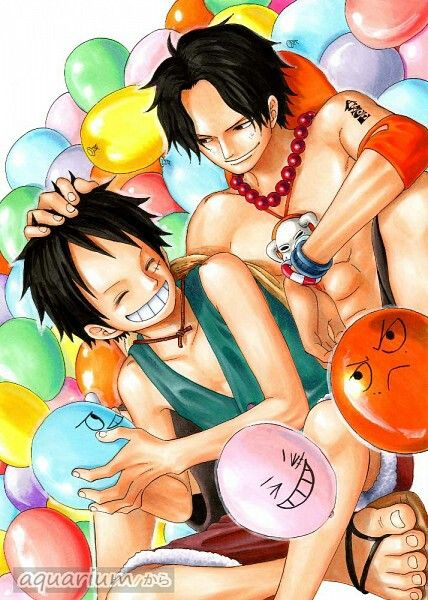 Ace & Luffy. The way he looks at luffy makes me sad. Such a caring older brother. We will miss him so bad